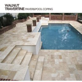 Walnut travertine coping