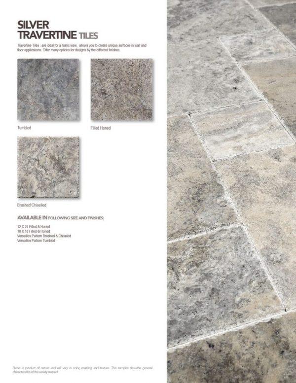 Silver travertine tile