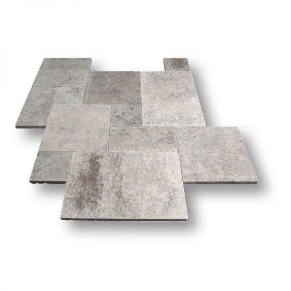 French Pattern Silver Travertine Tile