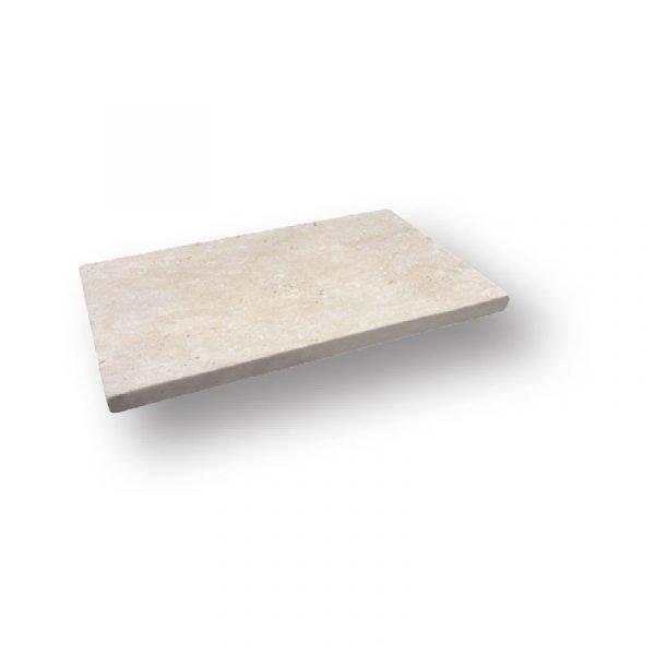 2 inch 12 X 24 Ivory Tumbled Travertine Modern Flat Edge Pool Coping