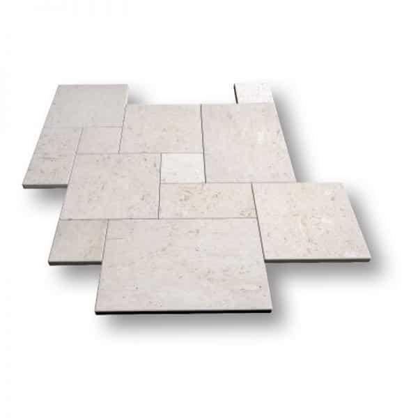French Pattern Shell Stone Tumbled Limestone Pavers