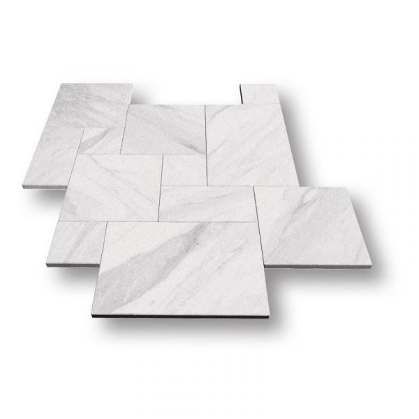 Sky White Sand Blasted Marble Pavers